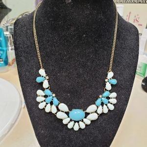 White & Blue Jeweled Necklace